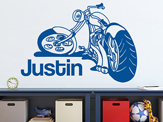 Wandtattoo Cooles Motorrad mit Name