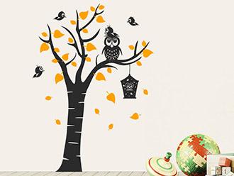 Wandtattoo Baum mit Eule und Vogelfamilie