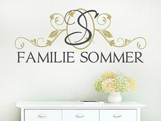 Wandtattoo Familienname mit Ornament