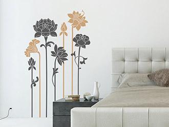 Wandtattoo Zweifarbige Blumen