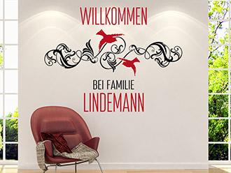 Wandtattoo Willkommen mit Ornament und Wunschname