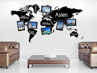 Wandtattoo Fotorahmen Weltkarte