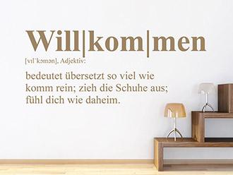 Wandtattoo Willkommen Definition