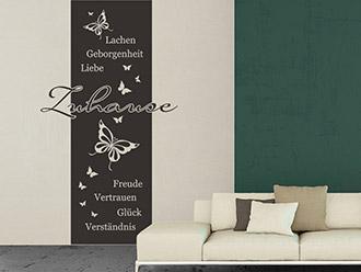 Wandtattoo Banner Zuhause mit Schmetterlingen