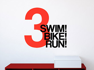 Wandtattoo Swim Bike Run