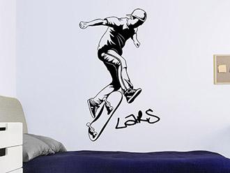 Wandtattoo Stylischer Skater mit Name