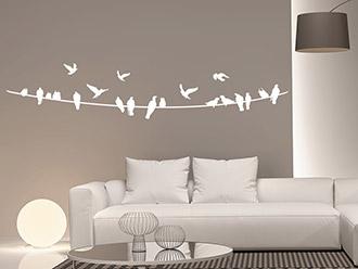 Wandtattoo Stromleitung mit Vögeln