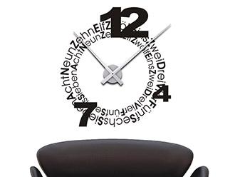 Wandtattoo Uhr Typographie