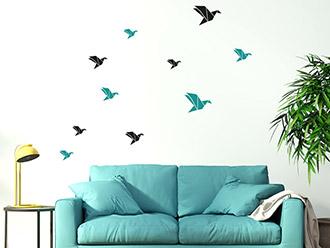 Wandtattoo Origami Vögel