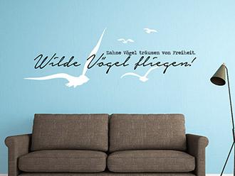 Wandtattoo Wilde Vögel fliegen