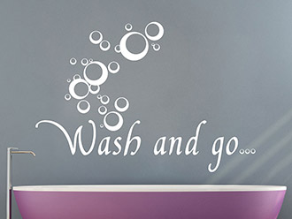 Wandtattoo Wash and go mit Seifenblasen