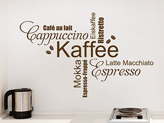 wand tattoo kaffee ecke tattoo küche spruch tasse coffee cafe ...