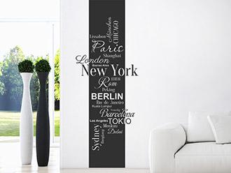 Wandtattoo Banner Weltstädte Schriften