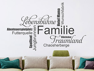 Wandtattoo Familie Wortwolke