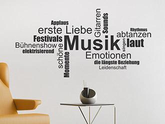 Wandtattoo Musik Wortwolke