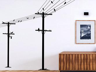 Wandtattoo Strommasten mit Vögeln