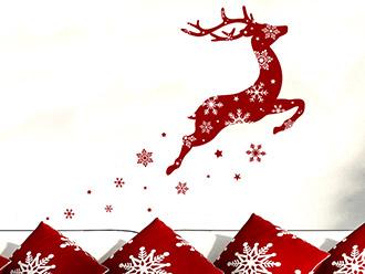 Wandtattoo Rentier mit Schneeflocken