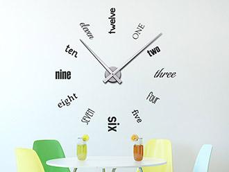 Wandtattoo Uhr Englische Zahlen