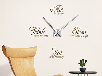 Wandtattoo Uhr Think Act Sleep Eat