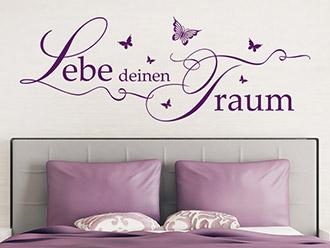 Wandtattoo Lebe deinen Traum mit Schmetterlingen