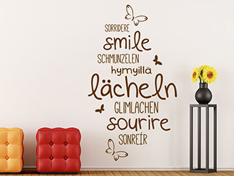 Wandtattoo Lächeln Sprachen
