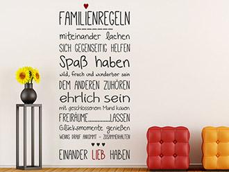 Wandtattoo Familienregeln Mit Herz