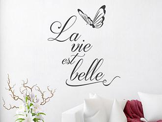 Wandtattoo La vie est belle mit Schmetterling