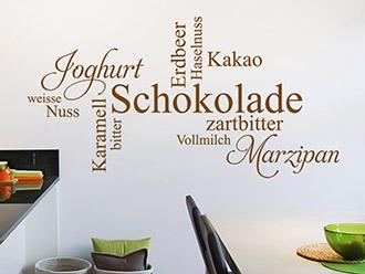 Wandtattoo Schokolade Variationen