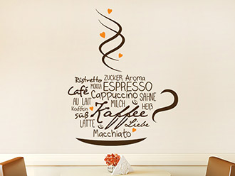 Wandtattoo Kaffeetasse mit Herzen