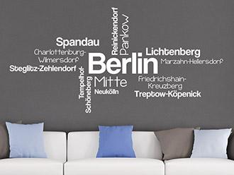 Wandtattoo Berlin Stadtteile