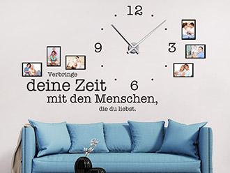 Wandtattoo Uhr Verbringe deine Zeit...