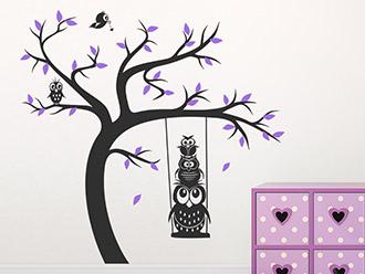 Wandtattoo Baum mit Schaukel und Eulen