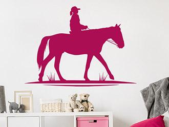 Wandtattoo Reitendes Kind auf Pferd