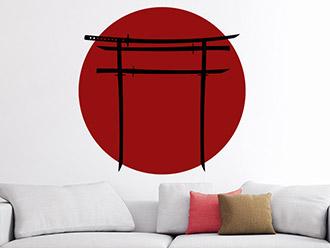 Wandtattoo Torii-Tor mit Samuraischwertern