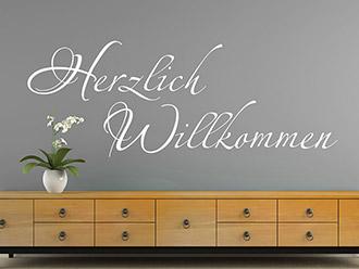 Wandtattoo Herzlich Willkommen Schriftzug