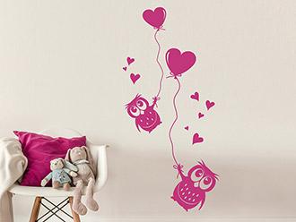 Wandtattoo Eulen mit Herzluftballons