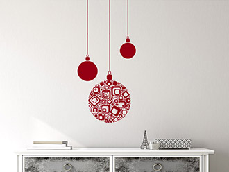 Wandtattoo Moderne Weihnachtskugeln