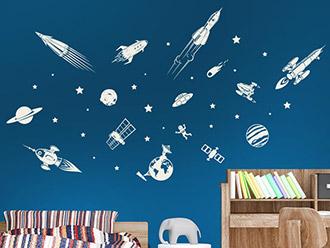 Wandtattoo Raumfahrt Set