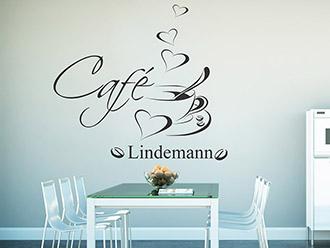 Wandtattoo Café mit Wunschname