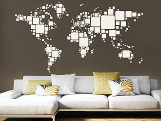 Wandtattoo Retro Weltkarte
