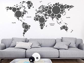 Wandtattoo Weltkarte Kreise