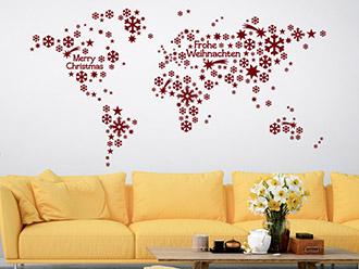Wandtattoo Weltkarte Weihnachten