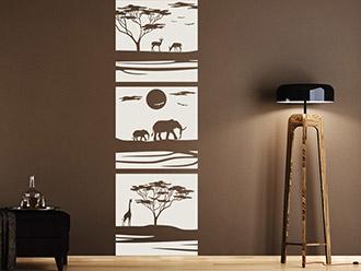 Afrika Wandtattoo Banner Savanne Auf Dunkler Wand