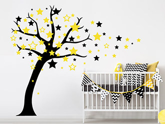 Entzuckend Zweifarbiges Wandtattoo Sternenbaum In Schwarz Und Gelb