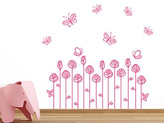 Wandtattoo Blütendeko mit Schmetterlingen