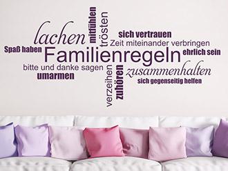 Wandtattoo Familienregeln Wortwolke