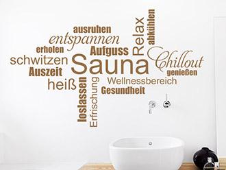 Wandtattoo Sauna Wortwolke