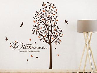 Wandtattoo Baum Willkommen Zuhause