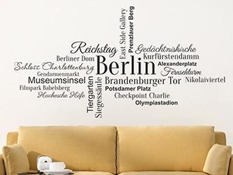 Wandtattoo Wortwolke Berlin Sehenswürdigkeiten