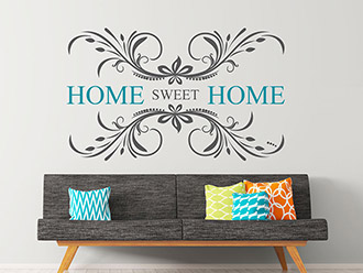 Wandtattoo Home sweet home mit Ornament
